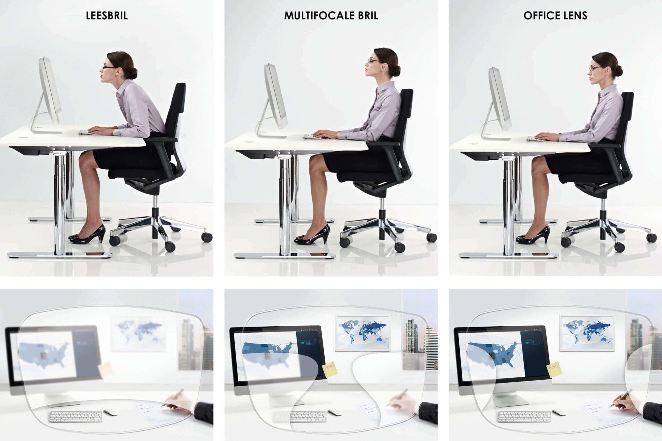 ZEISS OfficeLens brillenglazen stimuleren een comfortabele houding en bieden een scherp zicht
